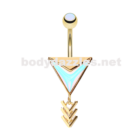 Golden Copy of Chic Revo Arrow Belly Button Ring 14ga Navel Ring - BodyDazzle