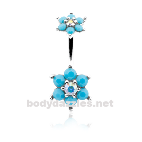 Turquoise Spring Flower Sparkle Prong Set Belly Button Ring Stainless Steel Body Jewelry - BodyDazzle