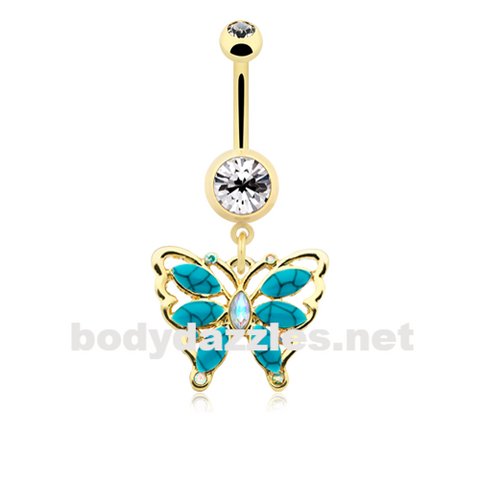 Golden Vintage Turquoise Butterfly Belly Button Ring 14ga Navel Ring Body Jewelry - BodyDazzle