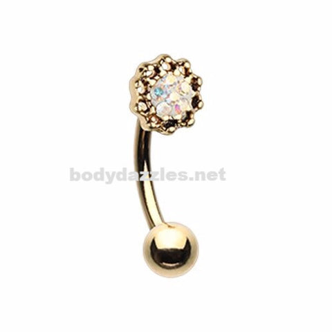 Golden Lotus Sprinkle Dot Filigree Curved Barbell Eyebrow Ring Rook Daith 16ga
