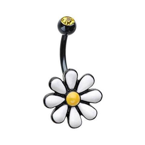 Black Cute Daisy Belly Button Ring 14ga Surgical Steel Body Jewelry