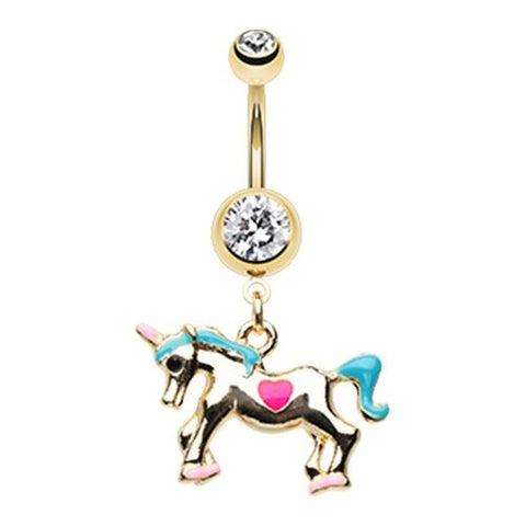 Golden Carousel Merry-go-Round Horse Belly Button Ring 14ga Surgical Steel Body Jewelry
