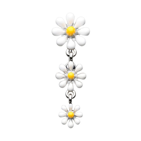 Reversible One Daisy at a Time Belly Button Ring 14 ga Surgical Steel Navel Ring