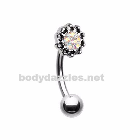 Lotus Sprinkle Dot Filigree Curved Barbell Eyebrow Ring Rook Daith 16ga