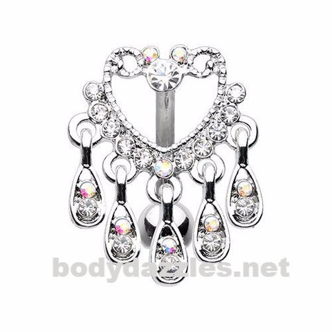 Elegant Chandelier Drop Top Down Reverse Belly Button Navel Ring 14ga