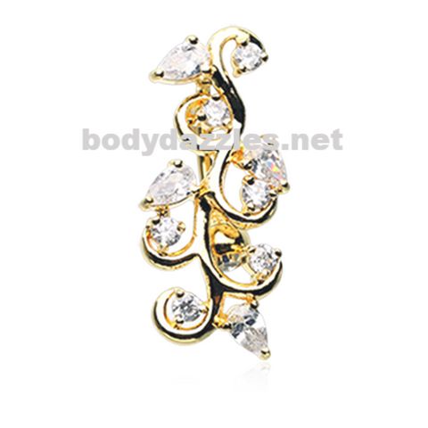 Golden Crystal Vine Reverse Belly Button Ring Stainless Steel Body Jewelry - BodyDazzle