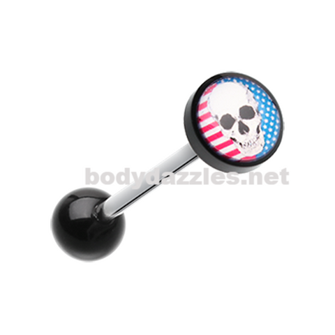 Skull Americana Logo Acrylic Barbell Tongue Ring 14ga Surgical Steel