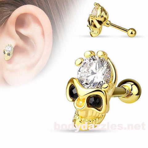 Skull with CZ Forehead and Black CZ Eyes 14Kt. Gold Plated over 316L Surgical Steel Cartilage/Tragus Barbell