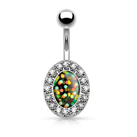Green Opal Glitter Centered Crystal Paved Oval Shape 316L Surgical Steel Belly Button Rings 14ga - BodyDazzle