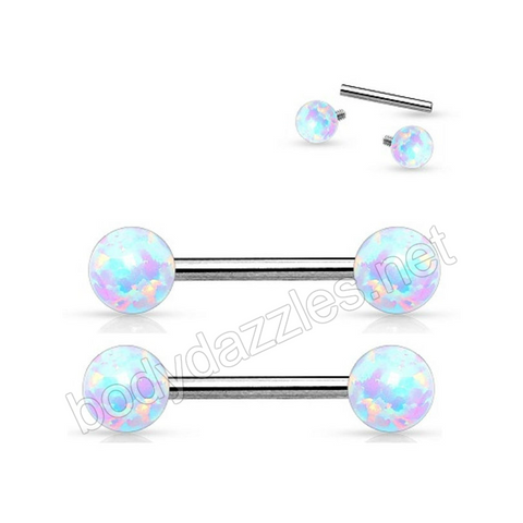 White Opal 14 Gauge Internally Threaded Opal Balls on Both sides 316L Surgical Steel Nipple Bar
