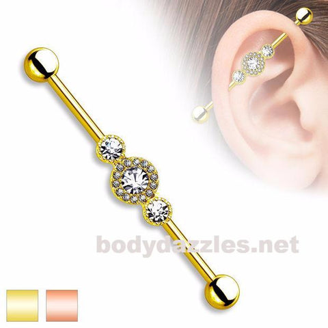 Three CZ Centered Multi Paved Circle Gold Plated over 316L Surgical Steel Industrial Barbell