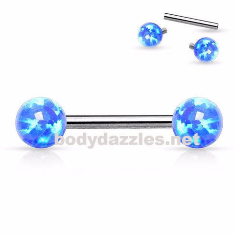Blue Opal 14 Gauge Internally Threaded Opal Balls on Both sides 316L Surgical Steel Nipple Bar