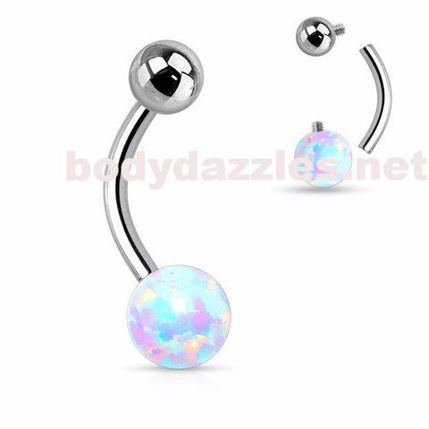 White Opal Ball 316L Surgical Steel Navel Ring 14ga Internally Threaded