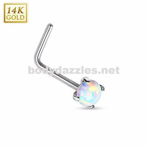 14Kt. White Gold L Bend Nose Ring with Prong Set Opal Nose Stud Body Jewelry 20ga - BodyDazzles
