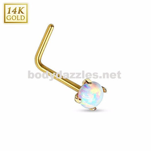 14Kt. Gold L Bend Nose Ring with Prong Set Opal Nose Stud Body Jewelry 20ga - BodyDazzles