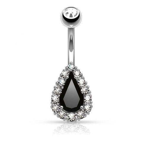 Round CZ Paved Around Prong Set Tear Drop CZ Belly Button Rings 14ga - BodyDazzle