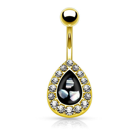 Crystal Paved Tear Drop with Mother of Pearl Inlaid Center 316L Surgical Steel Belly Button Rings - BodyDazzle
