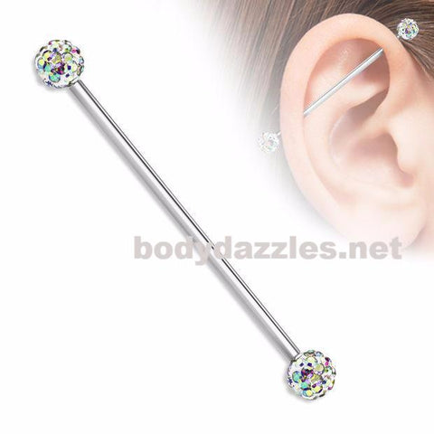 Crystal Paved Ferido Balls on both sides 316L surgical Steel Industrial Barbells