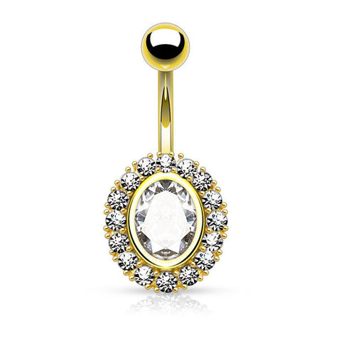 Gold Oval Shape Paved CZ Around Large Oval CZ Surgical Steel Belly Button Rings 14ga - BodyDazzle