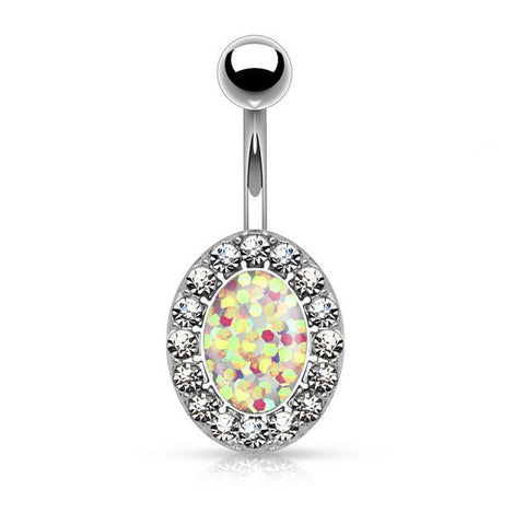 White Opal Glitter Centered Crystal Paved Oval Shape 316L Surgical Steel Belly Button Rings 14ga - BodyDazzle