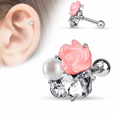 CZ,Pearl and Fimo Flower Clustered 316L Surgical Steel Cartilage/Tragus Bar