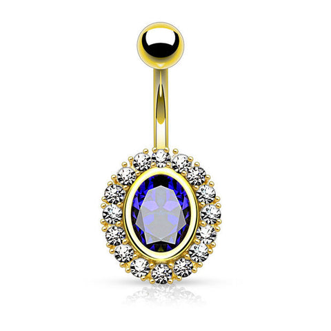 Gold and Blue Oval Shape Paved CZ Around Large Oval CZ Surgical Steel Belly Button Rings 14ga - BodyDazzle