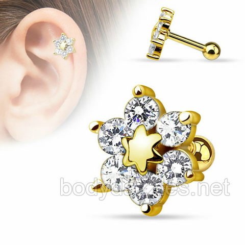 Flower 14Kt. Gold Plated over 316L Surgical Steel Cartilage/Tragus Barbell 16ga