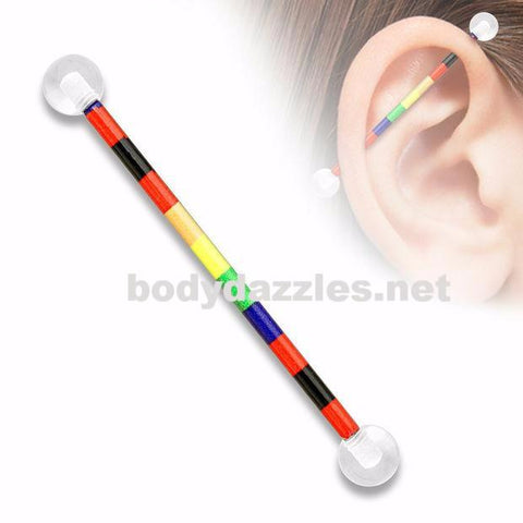 Rainbow Pattern Printed over 316L Surgical Steel Industrial Barbell with Clear UV Balls