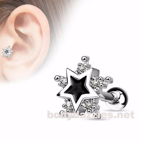CZ Star with Black Enamel Centered Star 316L Surgical Steel Cartilage/Tragus Barbell