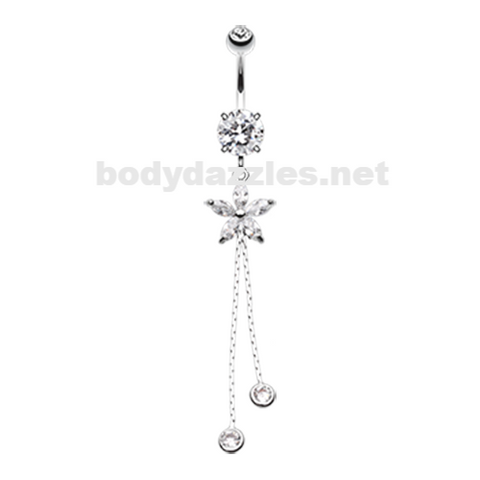 Flower Sparkle Belly Button Ring Navel Ring 14ga Surgical Steel