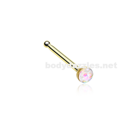 Gold White Opal Sparkle Nose Stud Ring Nose Ring  20ga Body Jewelry Surgical Steel - BodyDazzle