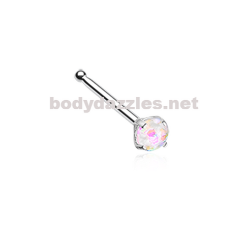 White Opal Sparkle Prong Set Nose Stud Ring Nose Bone Body Jewelry 20ga