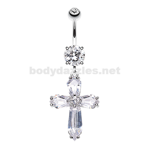 Elegant Cross Sparkle Belly Button Ring Navel Ring 14ga Surgical Steel