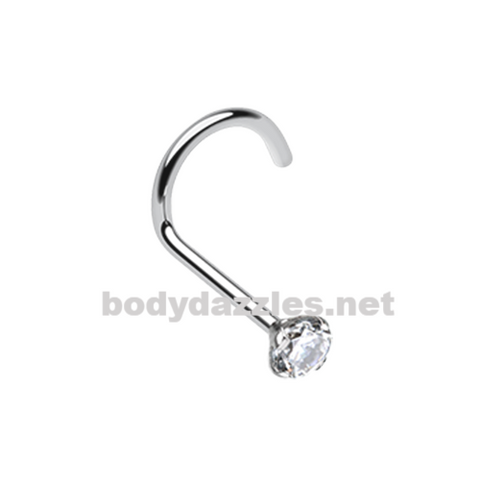 Prong Set Gem Top Steel Nose Screw Ring 20ga Body Jewelry