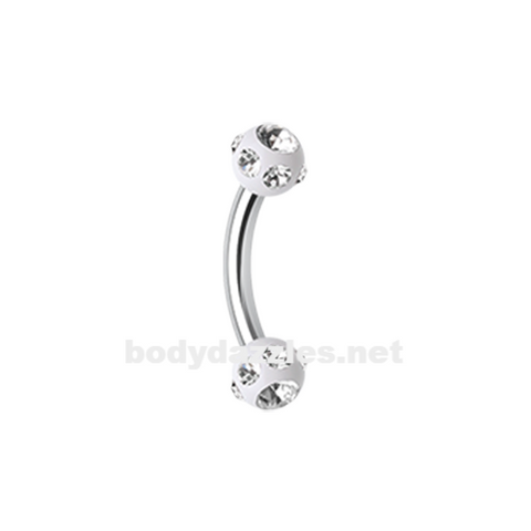 White Gem Ball Acrylic Curved Barbell Eyebrow Ring  Rook Daith Ring 16ga Body Jewelry - BodyDazzle