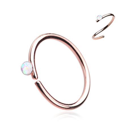 Rose Gold White Opal Bendable Nose Ring Nose Hoop  20ga Body Jewelry Steel - BodyDazzle