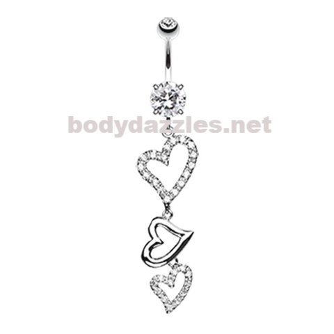 Curved Hearts Sparkle Belly Button Ring Navel Ring 14ga Surgical Steel