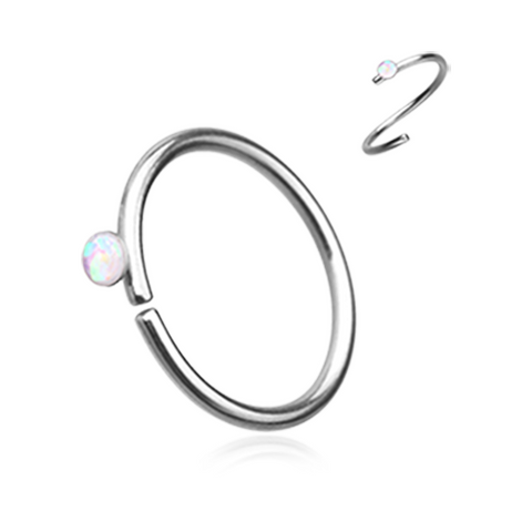 White Opal Bendable Nose Ring Nose Hoop  20ga Body Jewelry Steel - BodyDazzle