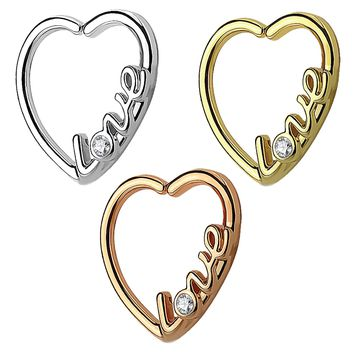 """Love"" Heart 16 Gauge Ear Cartilage/Daith Hoop Rings Helix Rook"