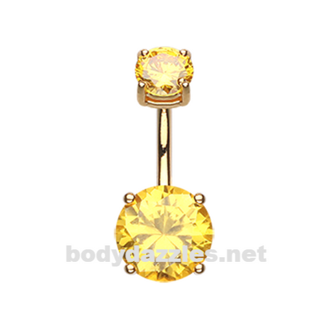 Yellow Colorline Gem Prong Sparkle Belly Button Ring Stainless Steel Body Jewelry - BodyDazzle