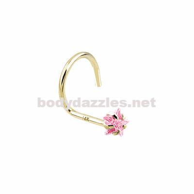 Pink Star Prong CZ Nose Screw Ring 14 Karat Solid Yellow Gold 20ga