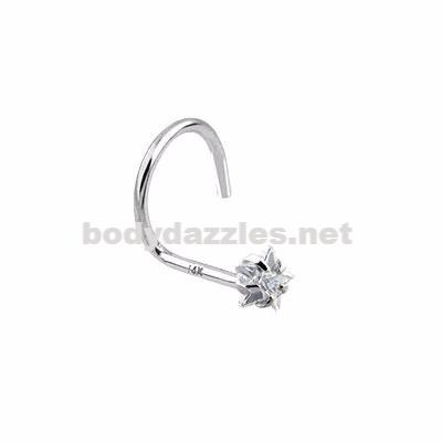 Clear Star Prong CZ Nose Screw Ring 14 Karat Solid White Gold 20ga