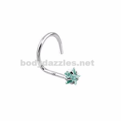 Aqua Star Prong CZ Nose Screw Ring 14 Karat Solid White Gold 20ga - BodyDazzles