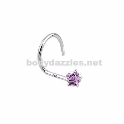 Purple Star Prong CZ Nose Screw Ring 14 Karat Solid White Gold 20ga