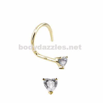 Heart Prong CZ Nose Screw Ring 14 Karat Solid Yellow Gold 20ga