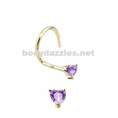 Purple Heart Prong CZ Nose Screw Ring 14 Karat Solid Yellow Gold 20ga