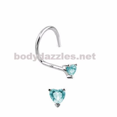 Aqua Heart Prong CZ Nose Screw Ring 14 Karat Solid White Gold 20ga - BodyDazzles