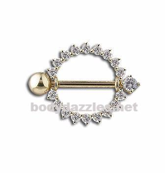 Single Barbell Nipple Shield Solid 14k Gold Orbital Nipple Ring
