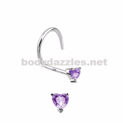 Purple Heart Prong CZ Nose Screw Ring 14 Karat Solid White Gold 20ga