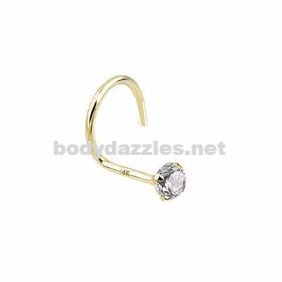 Clear Prong 2mm CZ Nose Screw Ring 14 Karat Solid Yellow Gold